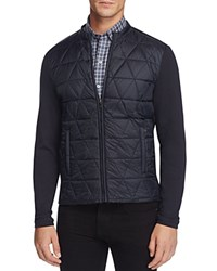 Zachary Prell Quilted Panel Knit Zip Jacket Navy