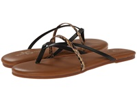 Yosi Samra River Two Tone Leather Thong Flip Flop W Crossover Strap Black Women's Sandals