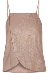 Mason By Michelle Mason Wrap Effect Perforated Leather Camisole Nude