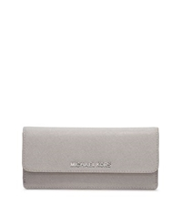 Michael Kors Jet Set Travel Saffiano Leather Wallet Pearl Grey
