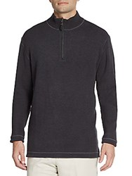 Saks Fifth Avenue Reversible Quarter Zip Pullover Charcoal Purple