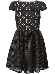 Alice Olivia Alice Olivia Embroidered Perforated Dress Black