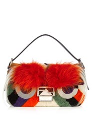 Fendi Baguette Shearling Shoulder Bag Black Multi