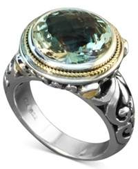 Effy Collection Balissima By Effy Green Quartz Round Ring 5 Ct. T.W. In Sterling Silver And 18K Gold