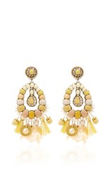Ranjana Khan Yellow Tear Drop Earrings With Tassels
