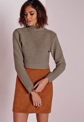 Missguided Long Sleeve Turtle Neck Sweater Taupe