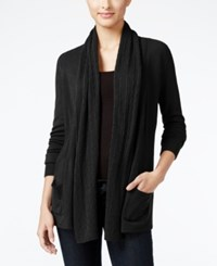 Karen Scott Petite Open Front Cable Knit Cardigan Only At Macy's Luxsoft Black