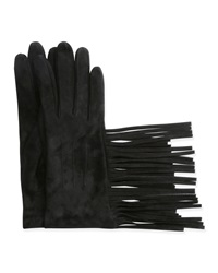 Lanvin Suede Gloves W Fringe Black