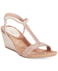 Styleandco. Style And Co. Mulan2 Embellished Evening Wedge Sandals Women's Shoes Rose Gold