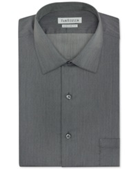 Van Heusen Herringbone Solid Dress Shirt Black Pepper