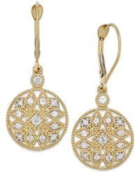 Macy's White Sapphire 1 2 Ct. T.W. Filigree Drop Earrings In 14K Gold Yellow Gold