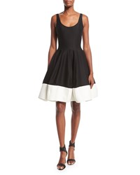 Halston Heritage Sleeveless Scoop Neck Colorblock Fit And Flare Dress Black Bone Black Ivory Size 0