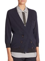 Brunello Cucinelli Double Breasted Cashmere Cardigan Navy
