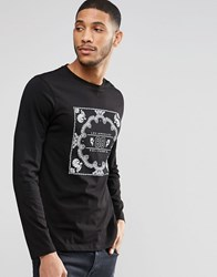 Asos Long Sleeve T Shirt With Bandana Print Black
