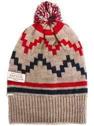 Woolrich Seasonal Pattern Beanie Nude And Neutrals