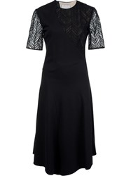 Jason Wu Herringbone Lace Belted Dress Black