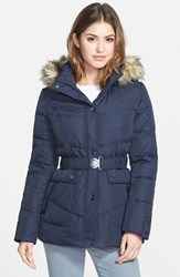 Women's Dkny 'Hayley' Faux Fur Trim Hooded Belted Quilted Jacket Online Only