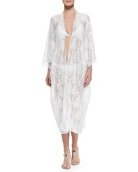 Marie France Van Damme Babani Sheer Embroidered Open Coverup