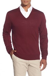 Men's Brooks Brothers 'Saxxon' V Neck Sweater Dark Red