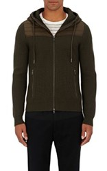 Moncler Men's Wool Zip Front Hoodie Dark Green