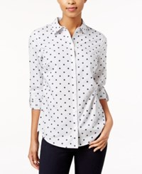 Charter Club Petite Dot Print Striped Shirt Only At Macy's Moonlt Blue Cmb