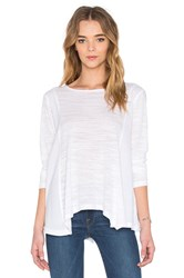 Heather Cotton And Gauze Long Sleeve Swing Top White