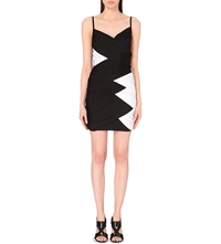 Balmain Contrast Panel Stretch Jersey Wrap Dress Monochrome