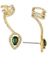 Rachel Roy Gold Tone Abalone Look Stone And Pave Wrap Ear Climber With Cuff