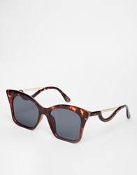 Asos Square Cat Eye Sunglasses In Cp With Drop Arm Tort Brown