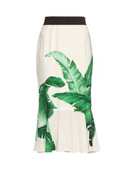 Dolce And Gabbana Banana Leaf Print Crepe Midi Skirt Green Multi