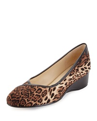 Taryn Rose Felicity Animal Print Stretch Low Heel Wedge Dark Brown
