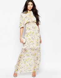 Liquorish Kimono Sleeve Maxi Dress In Romantic Floral Print Cream