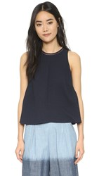 Rebecca Taylor Sleeveless Pucker Blouse Navy