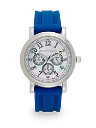 Saks Fifth Avenue Stainless Steel Strap Watch Silver Blue