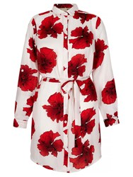 Mela Loves London Poppy Print Shirt Dress Ecru