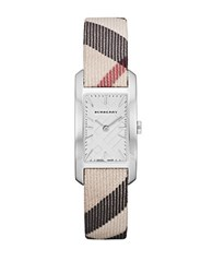Burberry Ladies Rectangle Watch With Nova Check Leather Strap