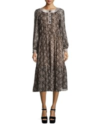 Michael Kors Long Sleeve Python Print Peasant Dress Taupe Brown