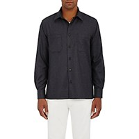 Luciano Barbera Men's Wool Button Front Shirt Dark Grey