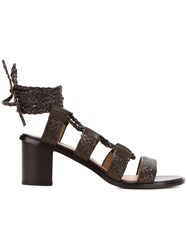 Scanlan Theodore Braided Mid Heel Sandals Brown