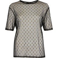 River Island Womens Black Star Sheer Mesh T Shirt