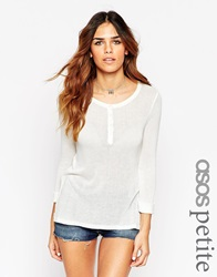 Asos Petite Exclusive Jumper With Button Front White