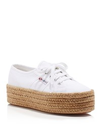 Superga Cotropew Lace Up Espadrille Platform Sneakers White
