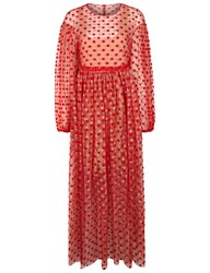 Paskal Red Flocked Polka Dot Layered Dress