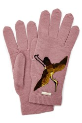 Dsquared2 Wool Gloves With Embroidery Rose