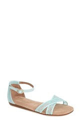Toms 'Correa' Lace And Grosgrain Ribbon Ankle Strap Wedding Sandal Women Blue
