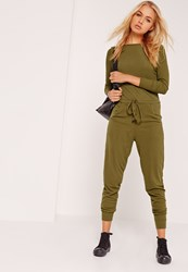 Missguided Ribbed Long Sleeve Jumpsuit Khaki Green