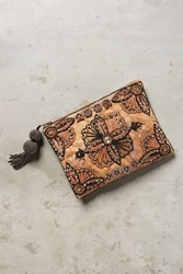 Anthropologie Beaded Jacquard Pouch Rose