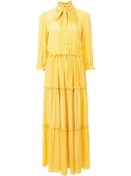Rossella Jardini Pussy Bow Maxi Dress Yellow And Orange