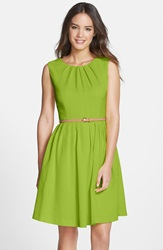 'Kenya' Belted Pleated Cotton Fit And Flare Dress Petite Lime