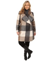 Mynt 1792 Plus Size Deep Shawl Coat Brown Grey Box Plaid Women's Coat Multi